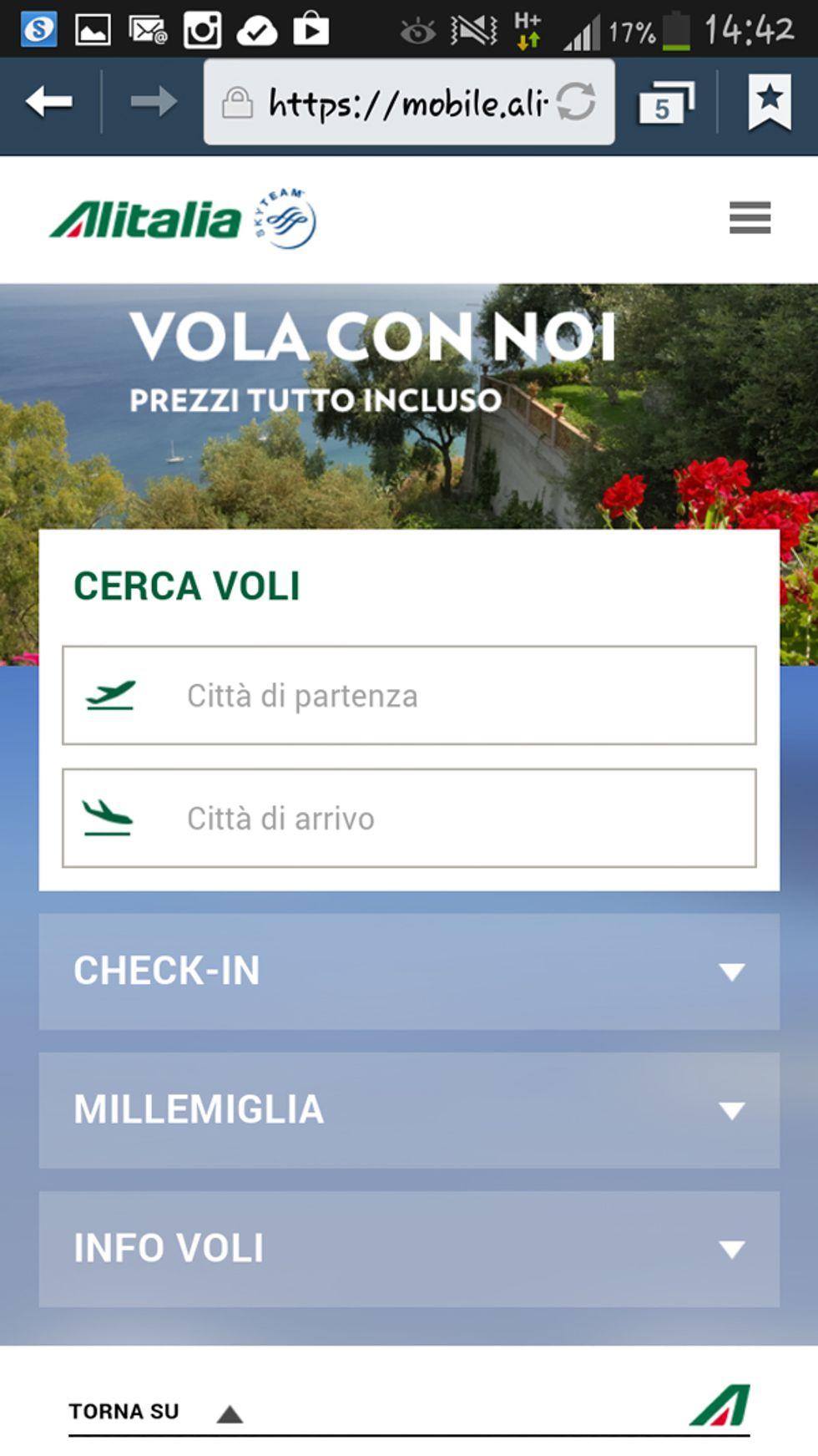 Alitalia rinnova il sito mobile