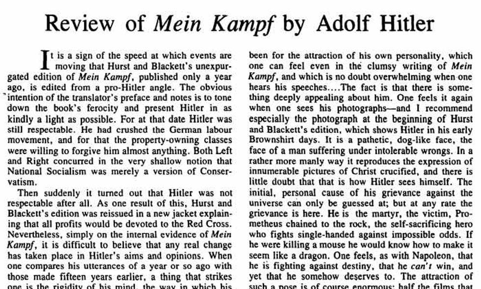 George Orwell e la recensione del 'Mein Kampf'