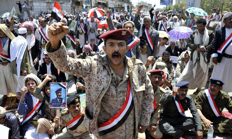 I ribelli sciiti in festa a San'a'