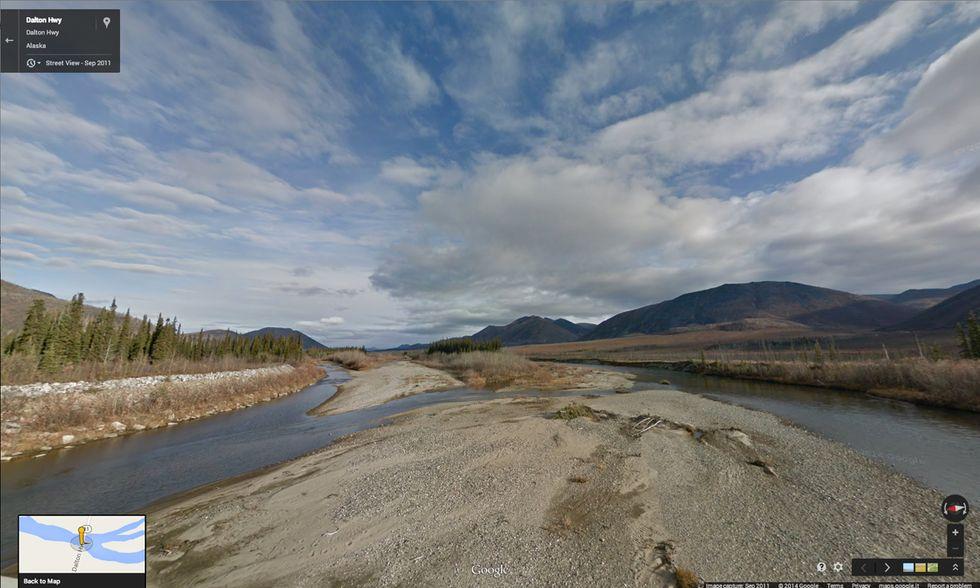 Google Street View lungo la Dalton Highway in Alaska