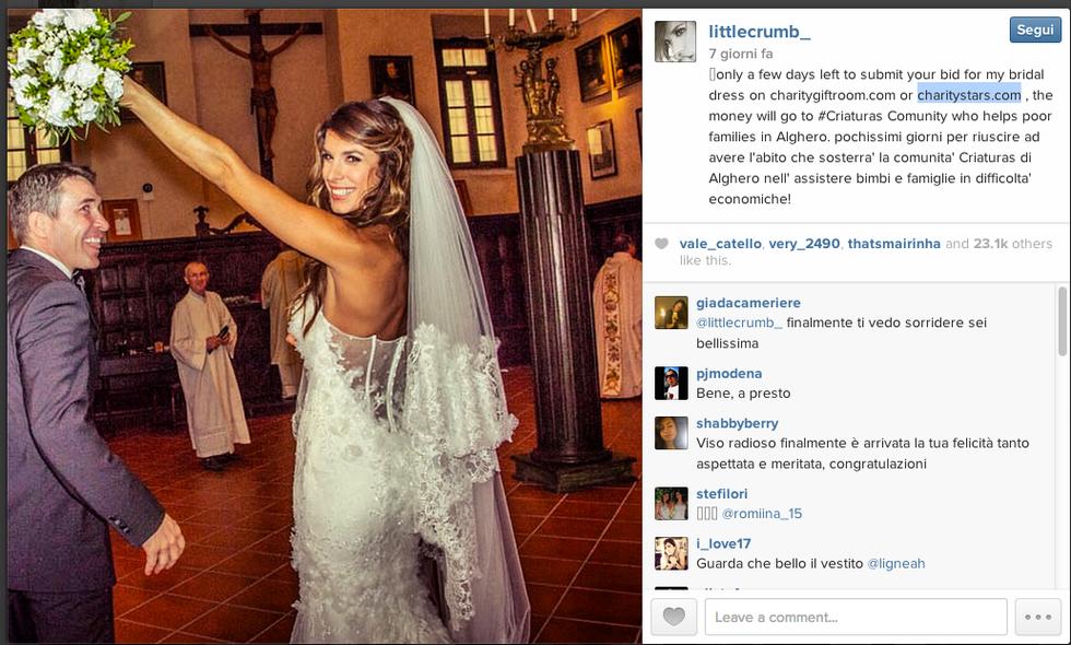 Elisabetta Canalis, abito da sposa battuto all'asta