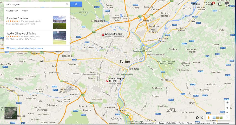 Gli stadi di Torino, Google Maps e lo scherzo del giorno