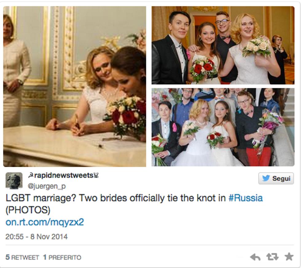In Russia il primo matrimonio Lgbt della storia