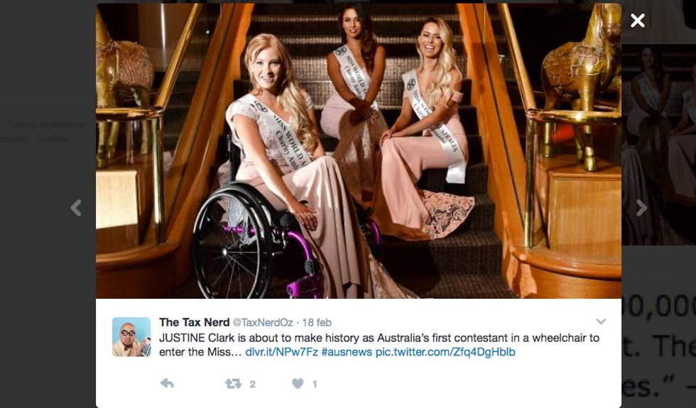 Justine Clark, la prima Miss sulla sedia a rotelle