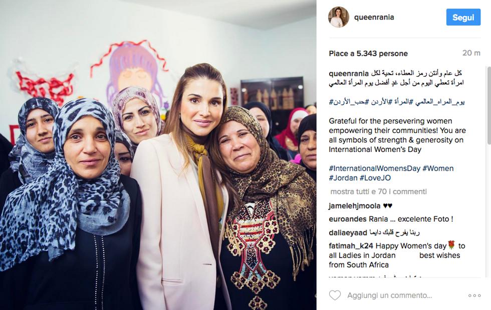 8 marzo, gli auguri dei vip sui social network - Rania di Giordania