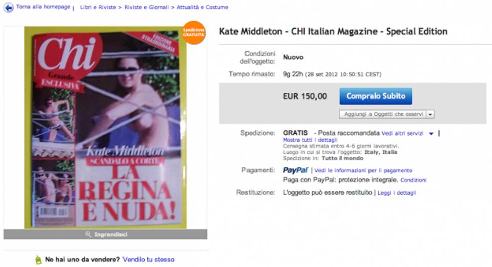 Il nudo di Kate in vendita su internet