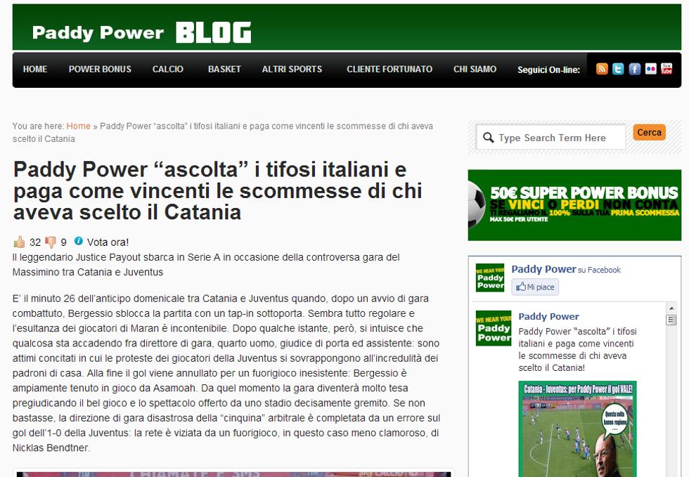 """Il """"Justice Payout"""" arriva in Italia: Paddy Power paga anche chi ha puntato sul Catania"""