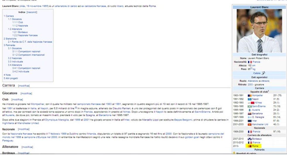 Per Wikipedia Blanc è già della Roma