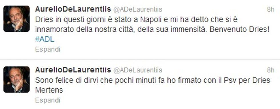 """De Laurentiis su Twitter: """"Preso Mertens"""""""