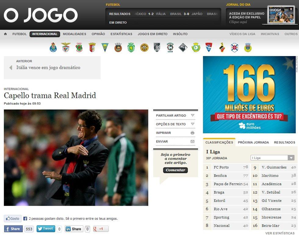 O Jogo: Il Real Madrid vira su Capello