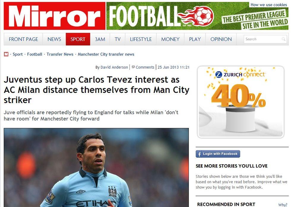 Tevez - Juventus: il Daily Mirror fa le cifre