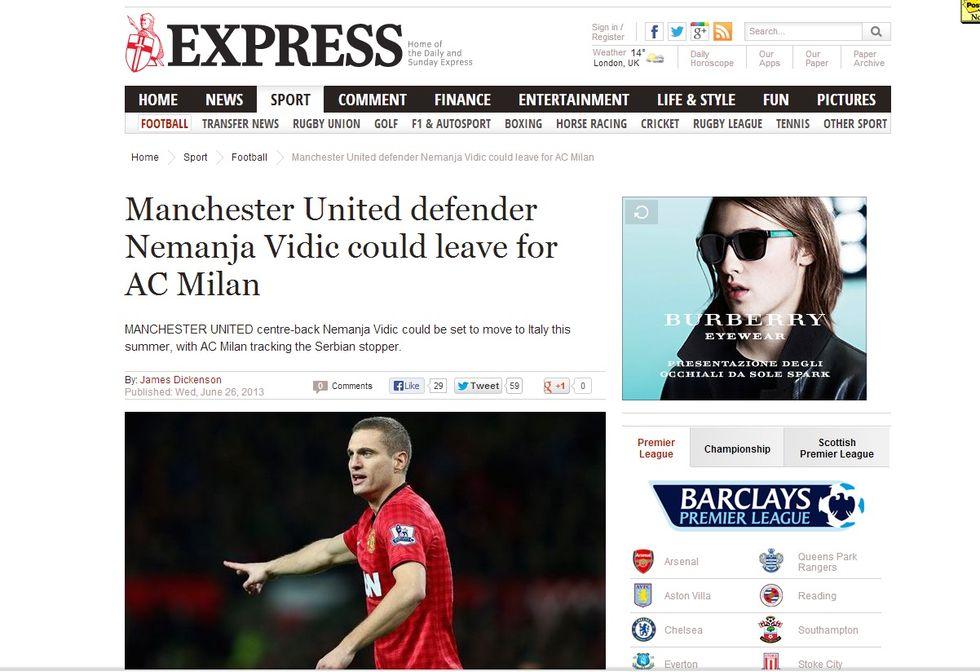 ll Milan fa sul serio per Vidic
