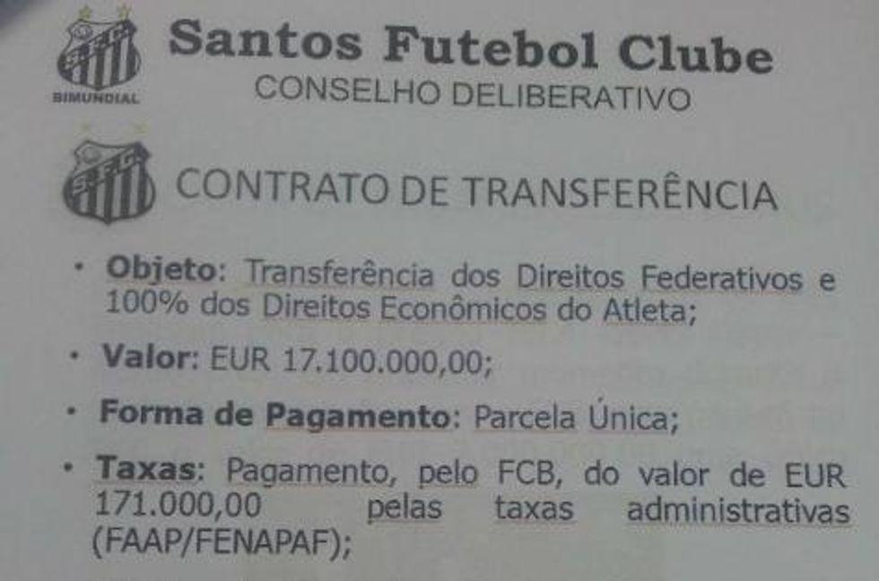 INDISCRETO - Neymar? Costato solo 17,1 milioni di euro (papà escluso)