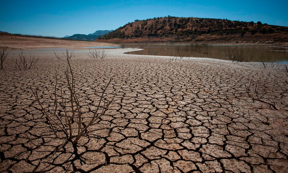 cracked riverbed due to drought in the