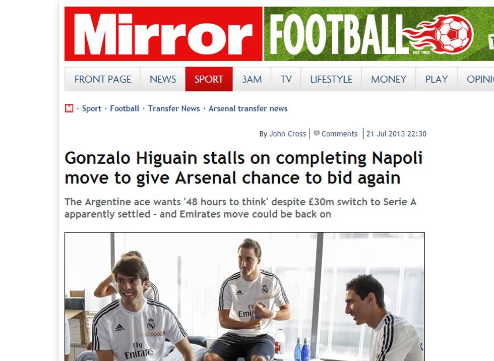 Higuain vuole aspettare il rilancio dell'Arsenal