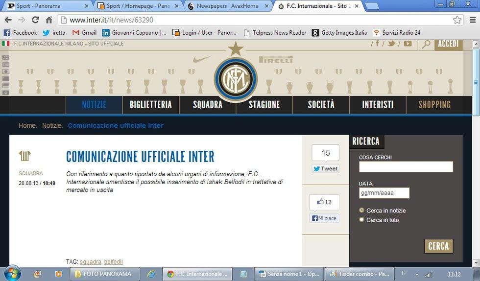 """L'Inter smentisce: """"Nessuna trattativa per Belfodil"""""""