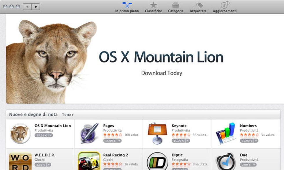 Apple: disponibile OS X Mountain Lion