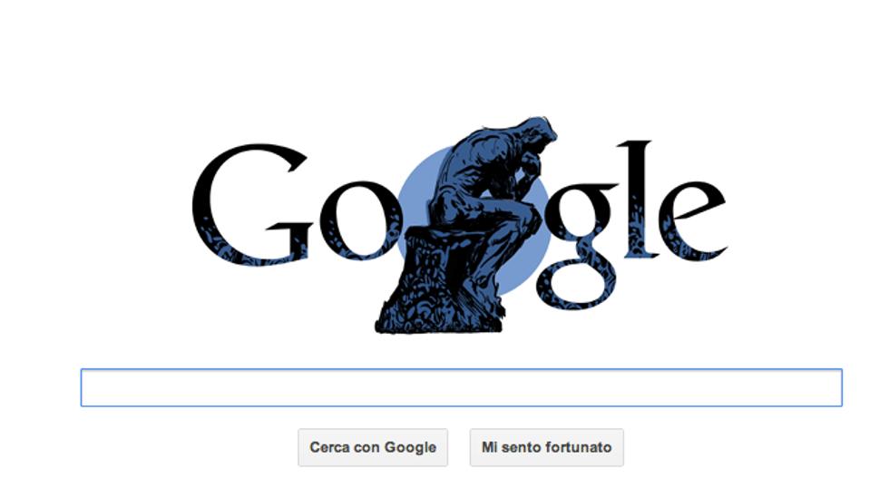 "Auguste Rodin, un Doodle per ""Il Pensatore"""