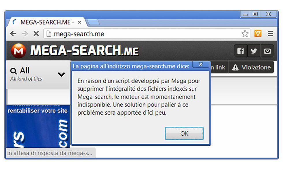 Mega, file rimossi e prima chiusura per un motore di ricerca non autorizzato