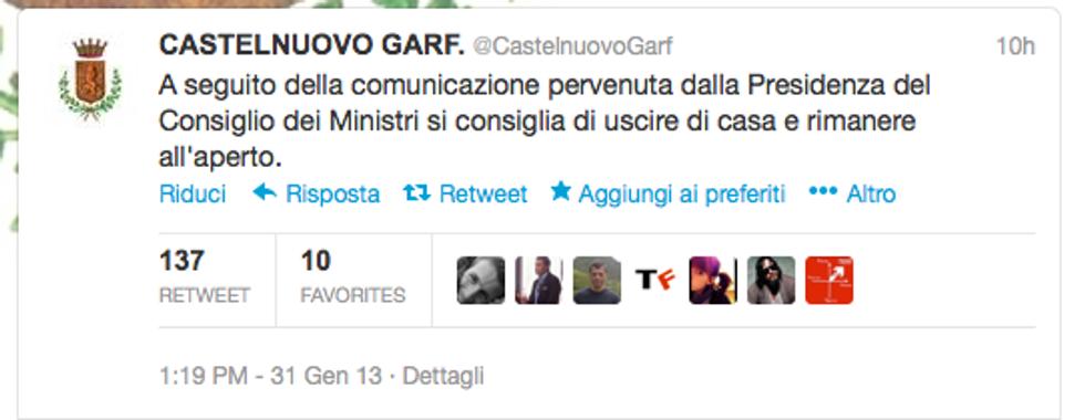 Tweet del Comune: allarme terremoto