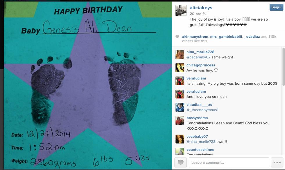 Alicia Keys mamma bis: è nato Genenis