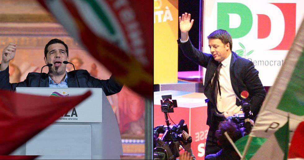 Alexis Tsipras e Matteo Renzi, due stili a confronto