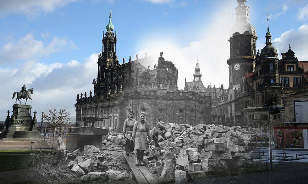 Dresda dopo i bombardamenti e oggi