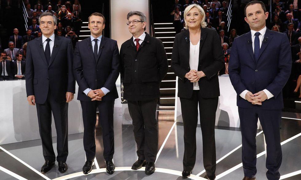 François Fillon, Emmanuel Macron, Jean-Luc Mélenchon, Marine Le Pen, Benoît Hamon