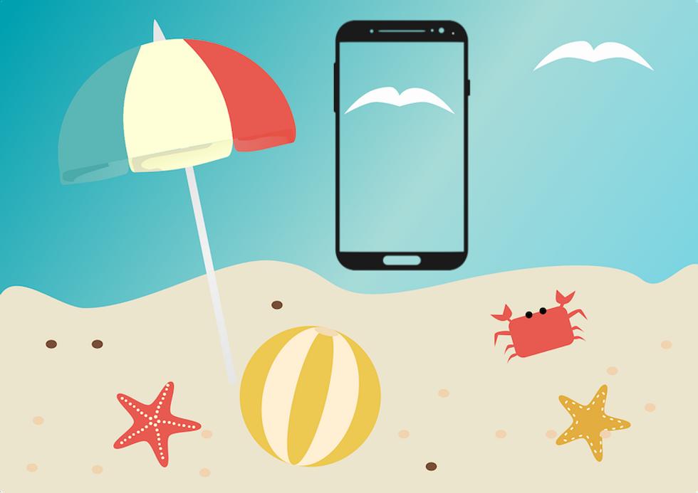 spiaggia smartphone