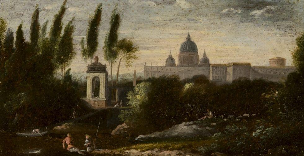 Veduta con San Pietro - Anonimo