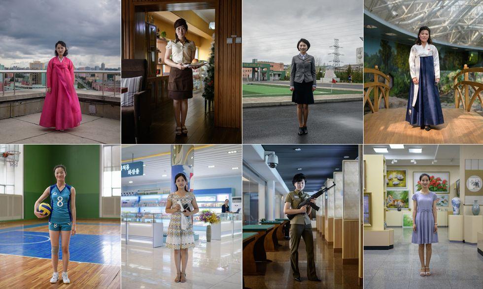 Donne in posa a Pyongyang
