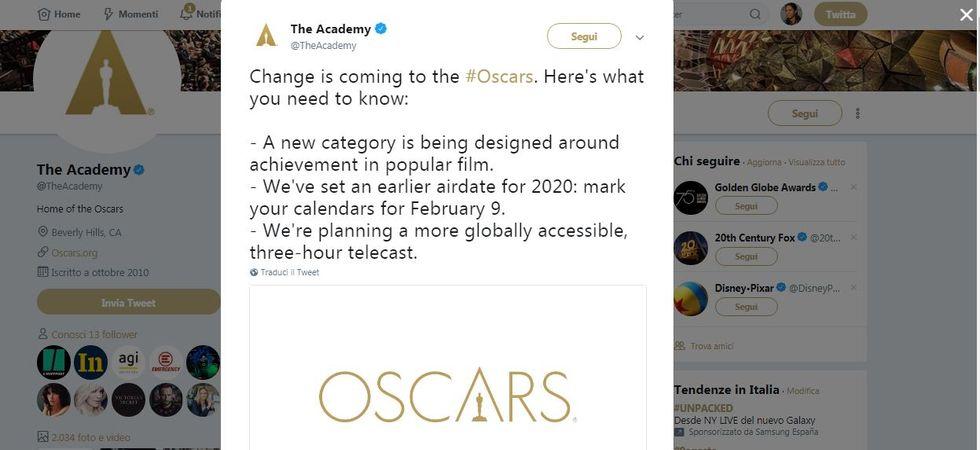 L'annuncio Twitter delle novità per gli Oscar 2020