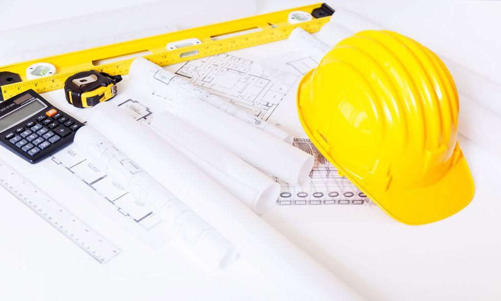 progetto, industria edile, casco, calcolatrice