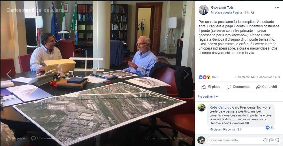 L'architetto Renzo Piano mostra al Presidente della Regione Liguria Giovanni Toti la sua idea di ponte da sostituire al vecchio Morandi crollato il 14 agosto