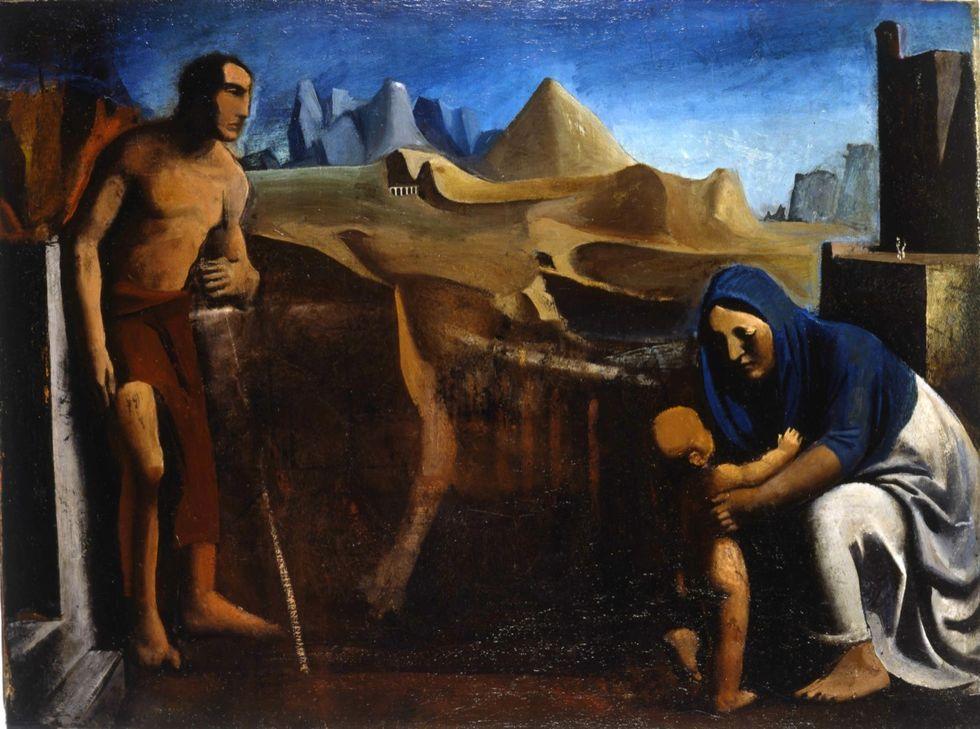 """Mario Sironi, """"La famiglia"""", 1927, proveniente dalla Galleria nazionale d'arte moderna di Roma."""