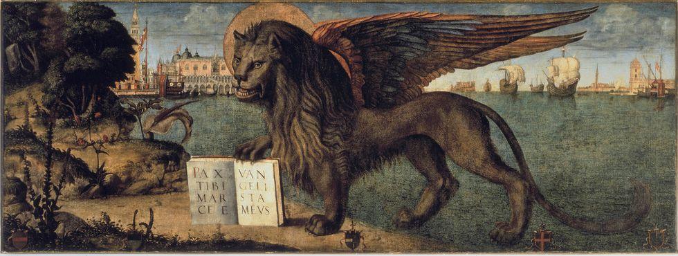 """Il """"Leone marciano"""" di Vittore Carpaccio, custodito nel Palazzo Ducale di Venezia e ora in mostra a Conegliano (Treviso)"""