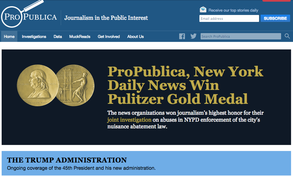 La piattaforma web specializzata in giornalismo investigativo ProPublica è stata premiata per l'inchiesta sugli sgomberi di New York insieme al NY Daily News