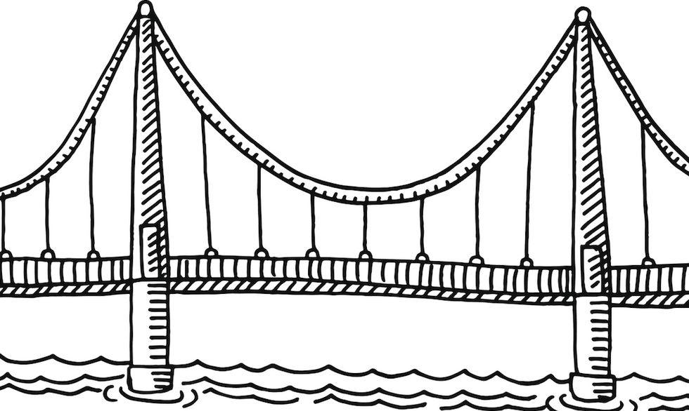 ponte sul fiume disegno