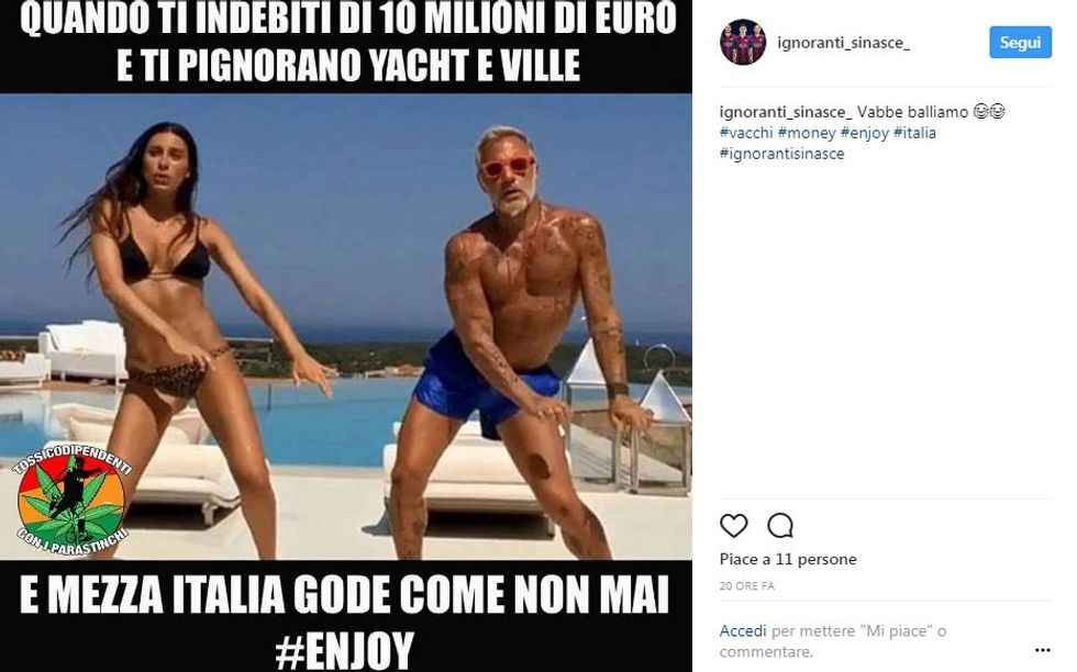 Ironia social dopo il maxi pignoramento a Gianluca Vacchi