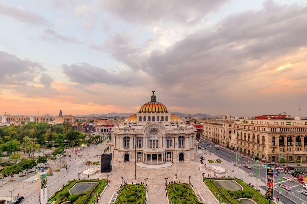 Mexico City - Aerial of Palacio de Bellas Artes at Sunset