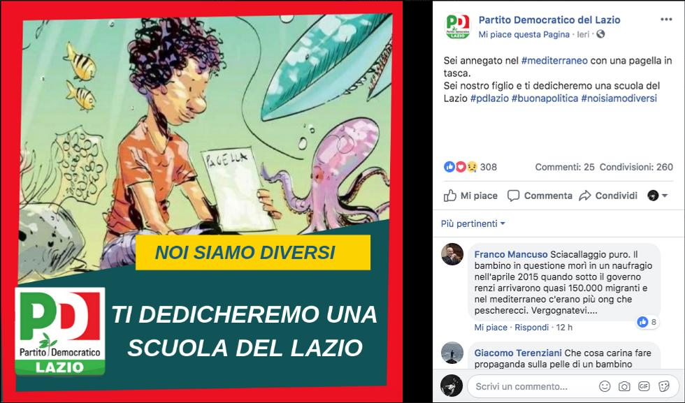 vignetta bambino migrante morto pagella cucita