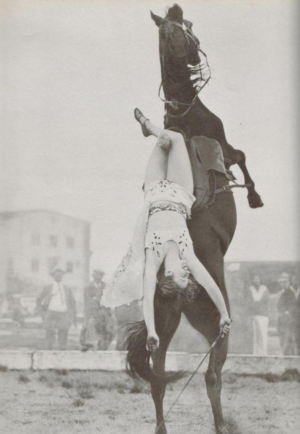 Donne fantino sul cavallo ormonale