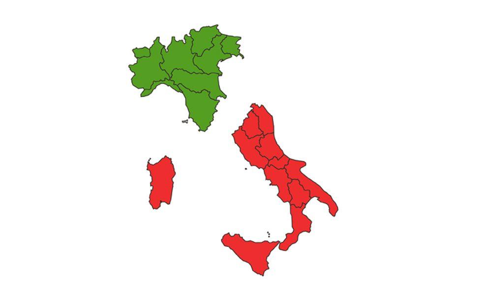 italia regioni nord sud
