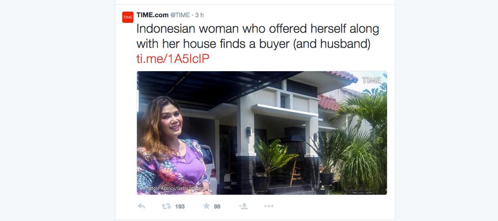 Dall'Indonesia la donna che vende casa a chi la sposa