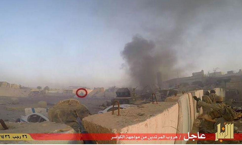 Bandiera nera dell'Isis a Ramadi, provincia di Anbar, Iraq