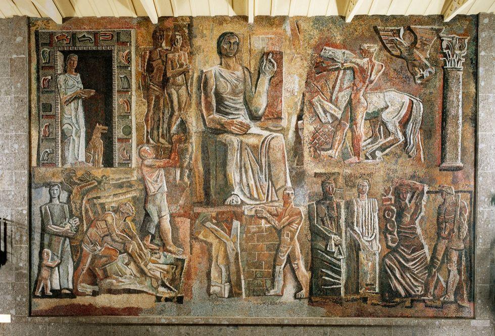 """""""L'Italia corporativa"""", mosaico di Mario Sironi"""
