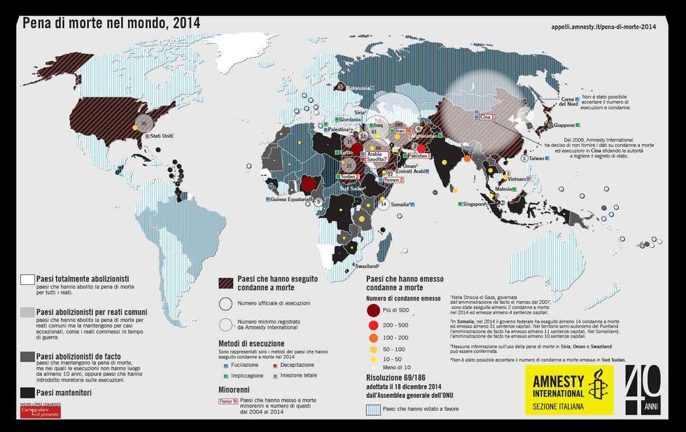 La pena di morte nel mondo nel 2014