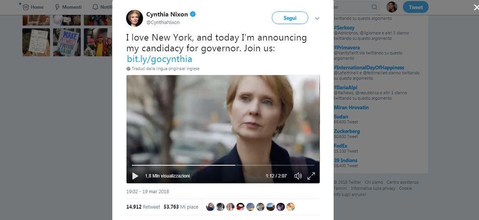 Cynthia Nixon si candida per la poltrona di Governatore dello stato di New York