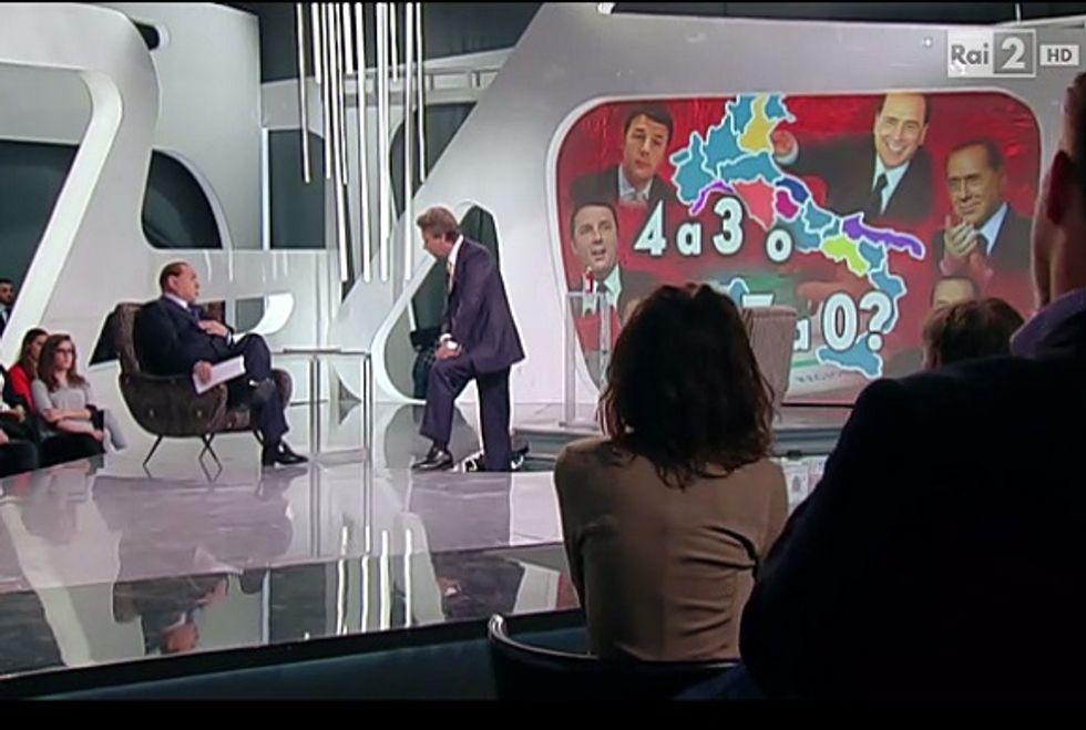 """Ascolti 28/5: """"Virus"""" al 7% con Berlusconi e al 13,5% con Renzi"""