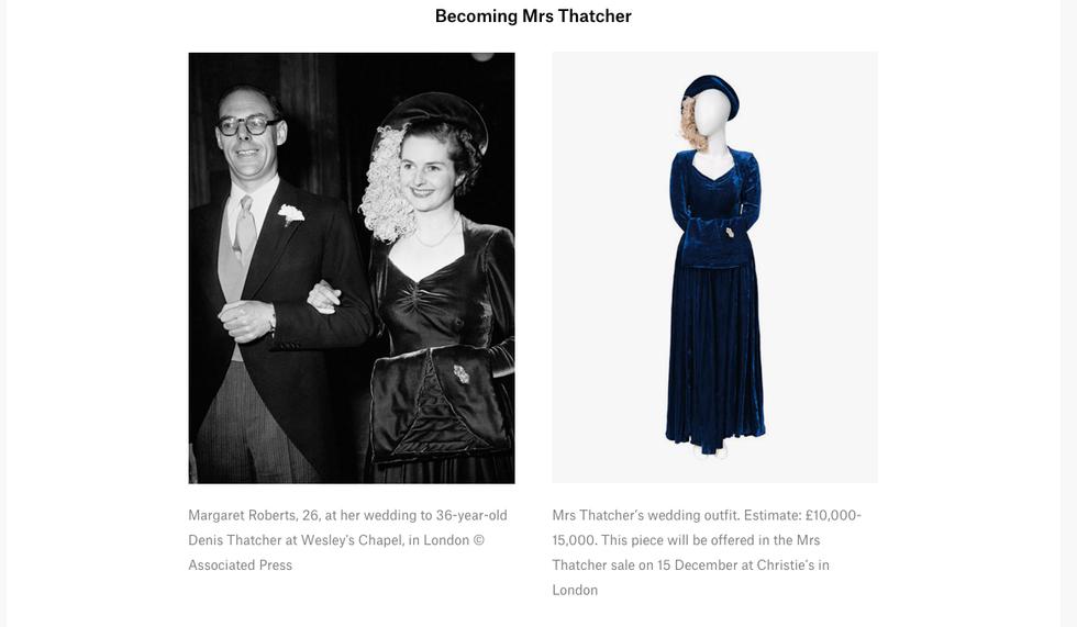 L'abito da sposa di Margaret Thatcher